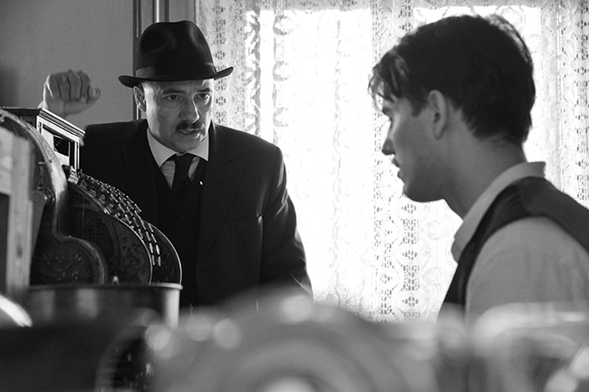 Town clerk István Szentes (Péter Rudolf) argues with his son Árpád (Bence Tasnádi) on his wedding day. Photo credit: Lenke Szilagyi / Menemsha Films