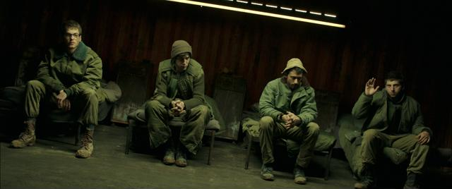 Left to right: Gefen Barkai as Squad Commander. Shaul Amir as Soldier with Headphones. Dekel Adin as Soldier Rolling Cans and Yonatan Shiray as Jonathan Photo by Giora Bejach, Courtesy of Sony Pictures Classics