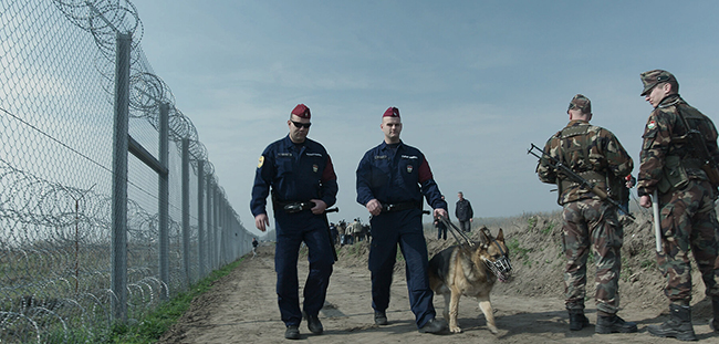 Hungarian border guards, from the film HUMAN FLOW by Ai Weiwei.
