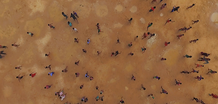 Drone shot of the Kutupalong Camp in Ukhia, Bangladesh, from the film HUMAN FLOW by Ai Weiwei.